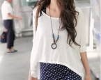Самое популярное | Obaldet | PRE-ORDER *Stylish Dots Two Pieces With Necklace T-shirt *